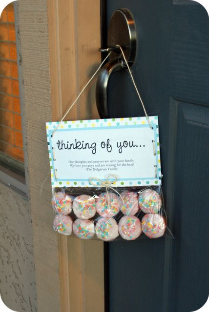 {Doorknob Gift}  I love that you can drop this off hanging!  Last year we wrote cards at Christmas for people whose lights we liked.  Perhaps this year we will do something fun like this!  Thanks for sharing!