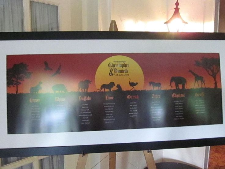 Lion King seating chart, table plan for Disney wedding x
