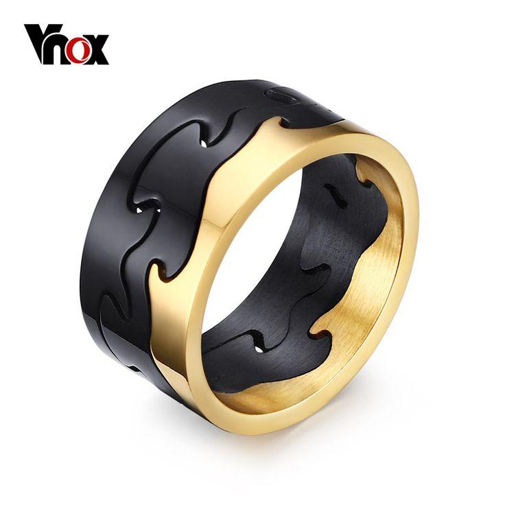 Vnox özel çıkarılabilir yüzükler erkek takı siyah paslanmaz çelik mens alyans altın/siyah/gümüş kaplama
