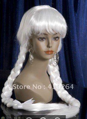 Хорошо бесплатная доставка Новый косплей Длинные косы волос белых женщин парик