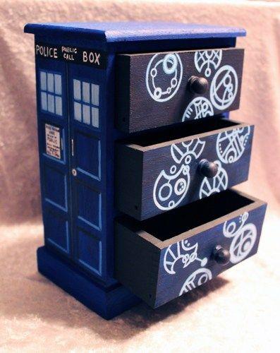TARDIS Doctor Who Gallifreyan Language Hand Painted Wood Jewelry Box