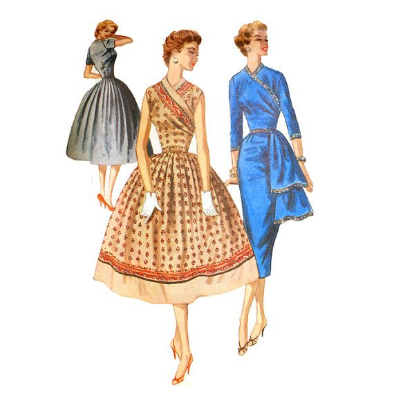 1950s vintage sewing pattern. McCall's 3472. Surplice bodice dress with sari-inspired details.