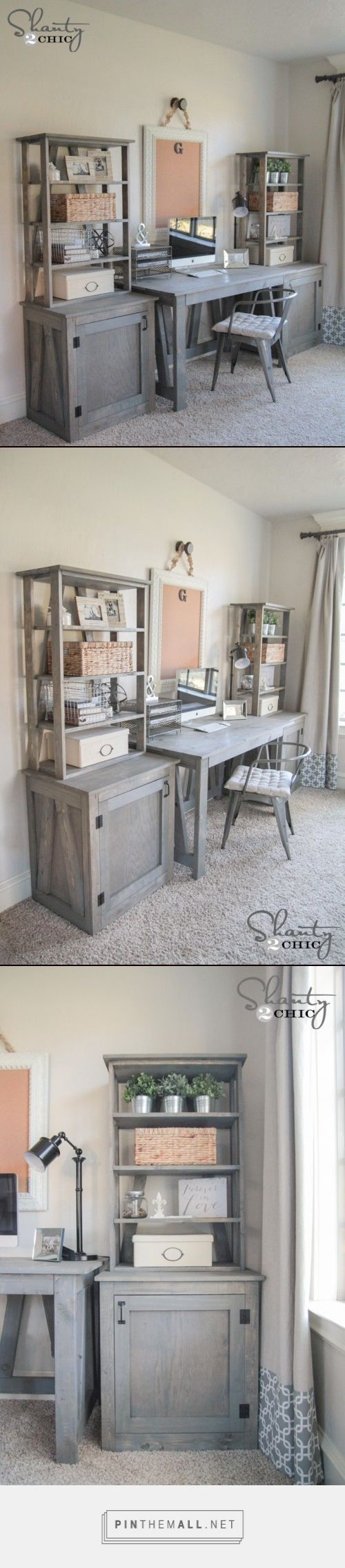 DIY Bookcase - Shanty 2 Chic... - a grouped images picture DIY Desk System! Completely customizable! Free woodworking plans and tutorial at www.shanty-2-chic