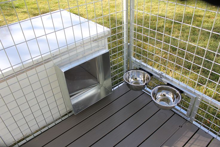 Aluminum fully insulted dog house works great with K9 Kennel Store galvanized dog kennels with external dog house color. Placing the dog house outside the kennel creates more mobility space for you dog kennel.