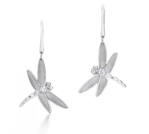 Dragonfly Diamond CZ Sterling Silver Drop Earrings
