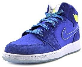 Jordan 1 Mid (gs) Youth Round Toe Synthetic Blue Basketball Shoe.