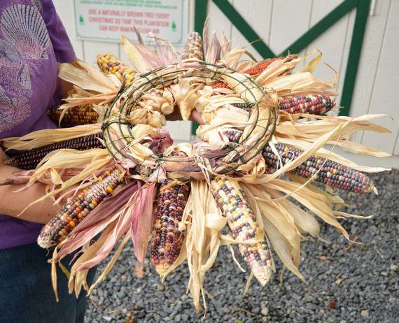 Large Indian Corn Wreath Natural Indian corn fall by EdwardsFarm