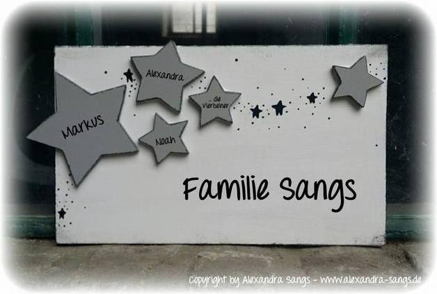 Tür- & Namensschilder - Türschild Familienschild Stern Sterne Shabby - ein Designerstück von Alexandra-Sangs bei DaWanda