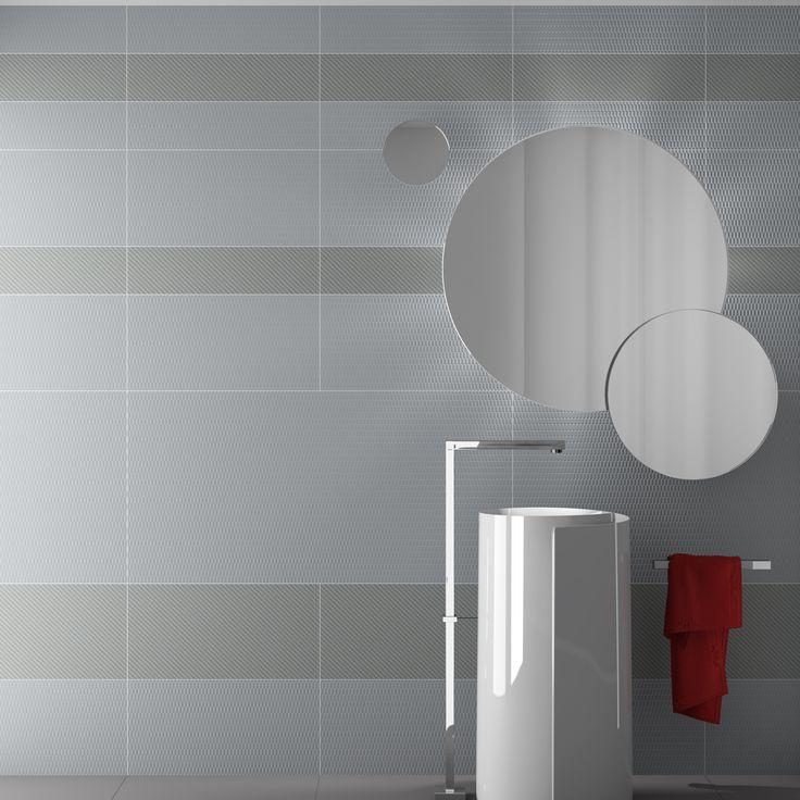 Piastrelle da rivestimento bagno 60x120 e 15x120 grigio chiaro piastrelle bagno ceramica - Rivestimento bagno grigio ...