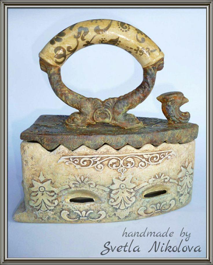 Ceramic box-iron.Handmade by Svetla Nikolova.