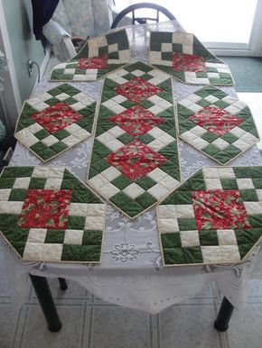 Christmas table runner and placemats. I really like the way these look on the table.