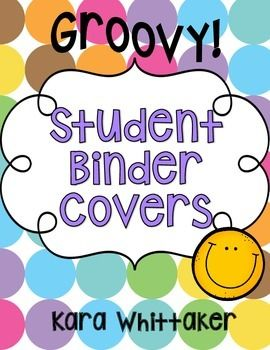 """Student Binder Covers: Student binders and take home folders help keep you and your students organized! This set includes one student binder cover and one take home folder cover in 12 (groovy!) colors, along with """"Keep at Home"""" and """"Return to School"""" labels."""