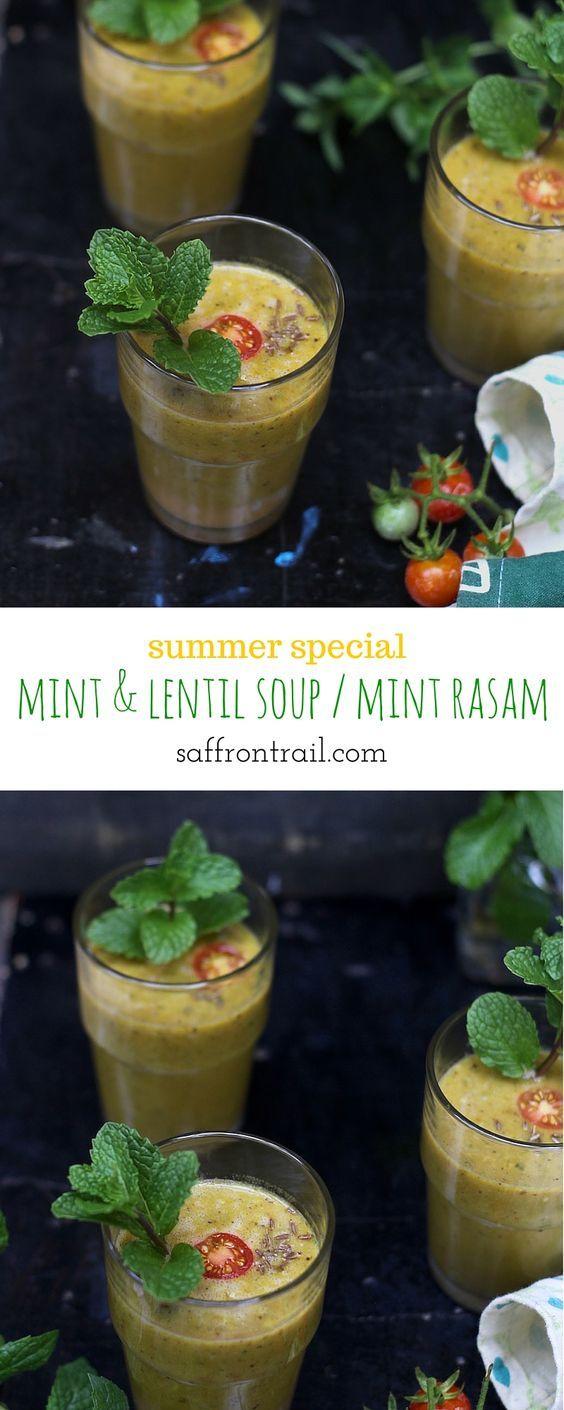 Recipe for Mint Rasam / Pudina Rasam / Pudina Shorba / Mint and Lentils