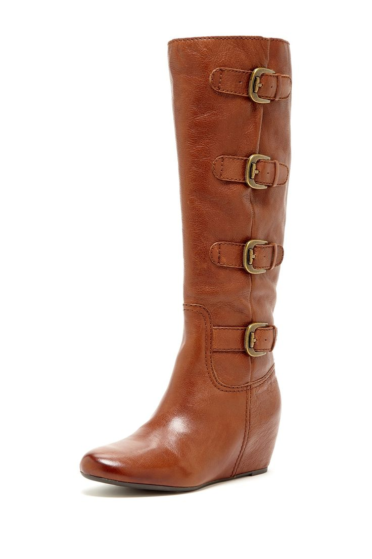 franco sarto imply buckle wedge boot shoes
