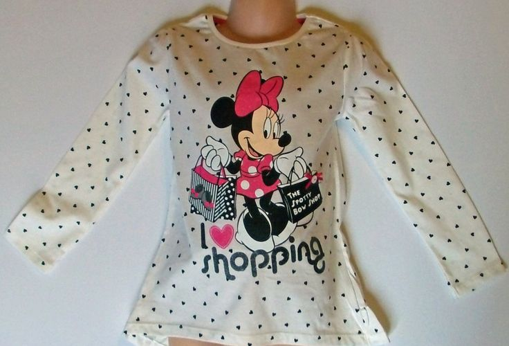 """Girls Top featuring Minnie Mouse """"I Love Shopping"""" motif only £4.99 available in sizes 18 months, 2, 3, 4, 5, 6, 7 year old"""