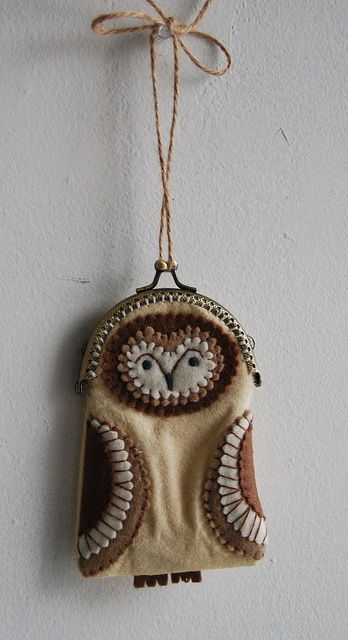 barn owl stitched coin purse