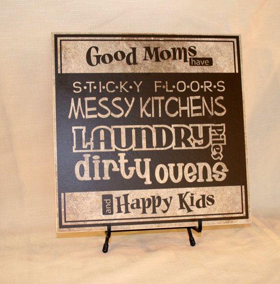 "Vinyl design ""Good Moms have Happy Kids"" Sign (wood board or tile) Mother's day gift on Etsy, $30.00"