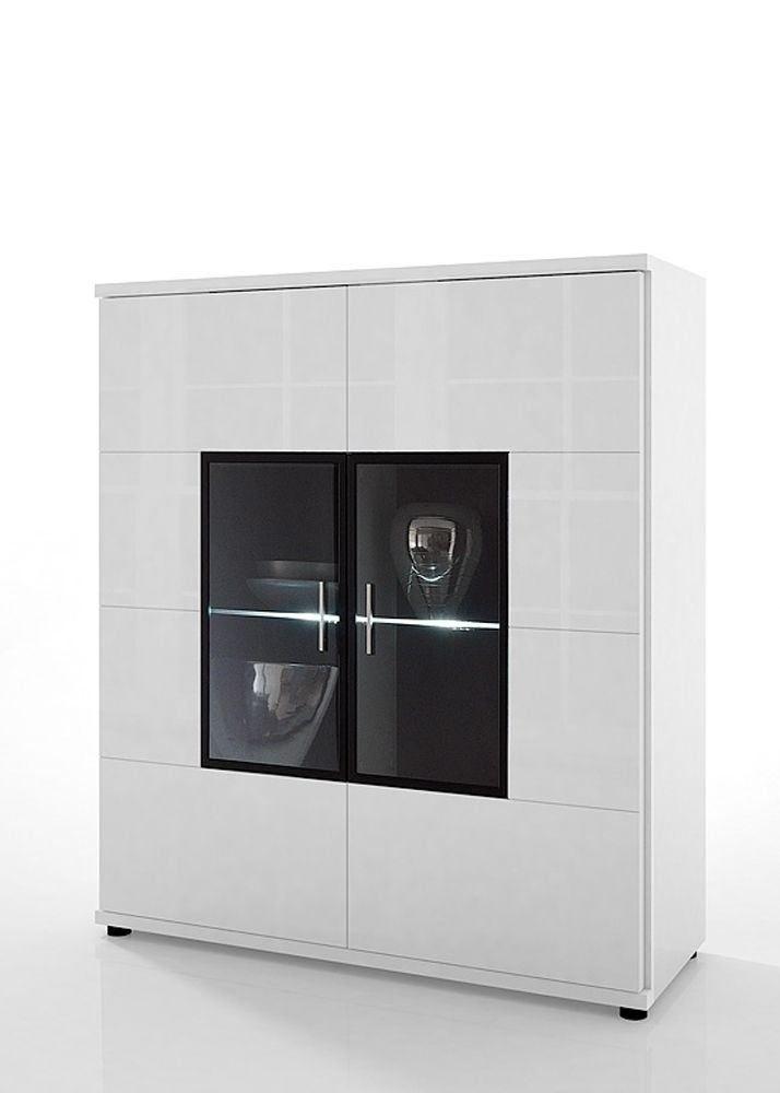 Highboard Acorano mit 2 Türen Weiß Hochglanz 4591. Buy now at https://www.moebel-wohnbar.de/highboard-acorano-mit-2-tueren-weiss-hochglanz-4591