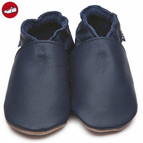 Inch Blue Mädchen/Jungen Schuhe für den Kinderwagen aus luxuriösem Leder - Weiche Sohle - Einfarbig Dunkelblau - Kinder sneaker und lauflernschuhe (*Partner-Link)