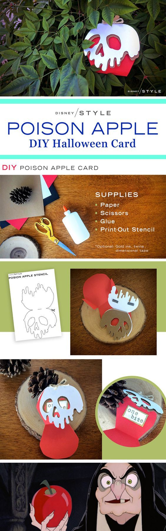 DIY Poison Apple Halloween Card | One bite of this Snow White-inspired Halloween craft, and all your DIY dreams will come true! | Seasonal Disney stationery inspiration | [ http://di.sn/60088DmSE ]