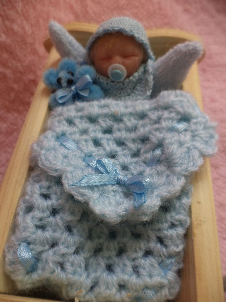 Beautiful Miniature baby Boy and wooden crib by TEENY TINY BABES Gorgeous gift!