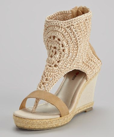 Take a look at this Beige Crocheted Roberta Gladiator Wedge by French Kiss on #zulily today!