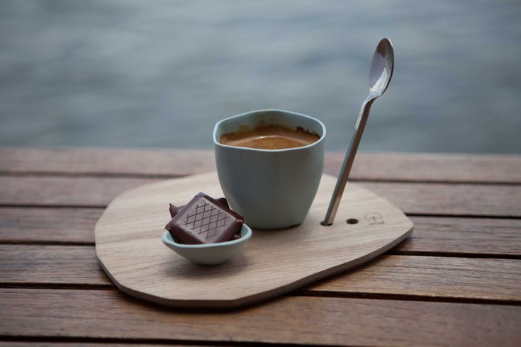 Espresso and dark chocolate. Yummy combination. Espresso cup and wooden saucer from amaï, Saigon, Vietnam.