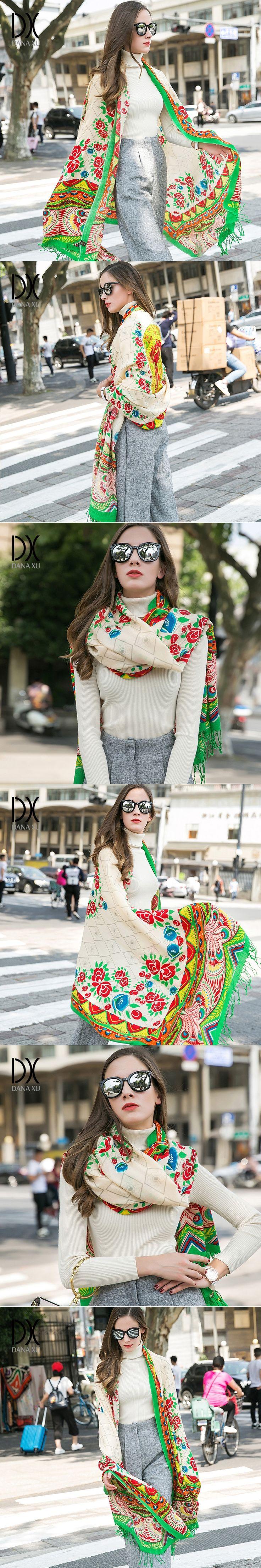 2017 European Autumn Winter Women Fashion Blanket Scarf Female Cashmere Pashmina Wool Scarf Shawl Warm Thick Scarves Cape Wraps