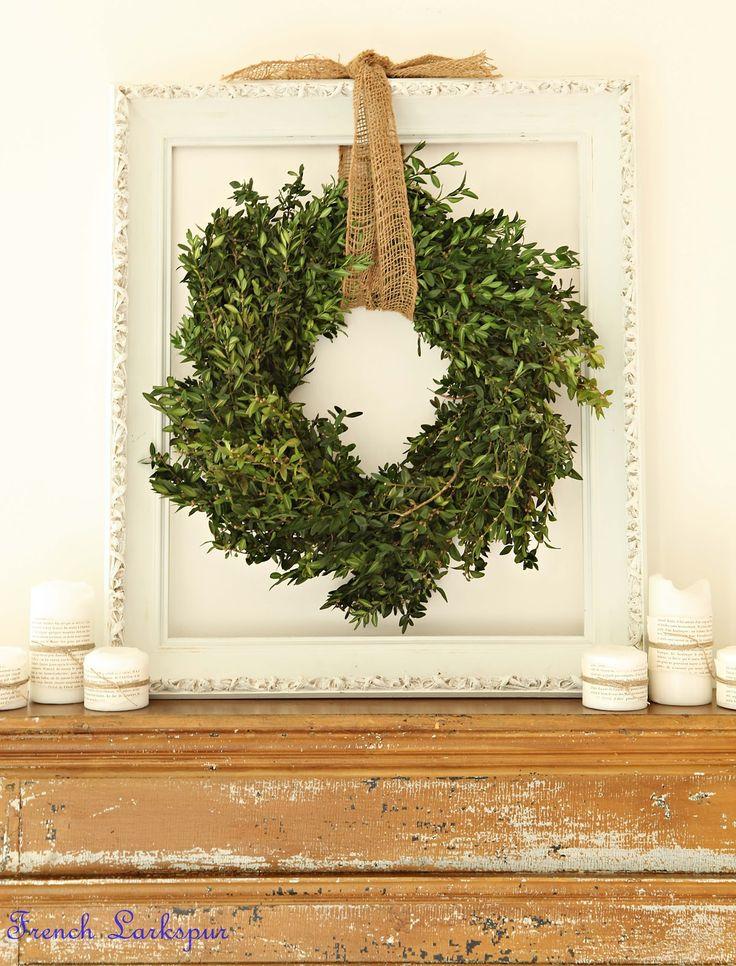 Vintage Open Frame, Burlap Ribbon, & Boxwood Wreath