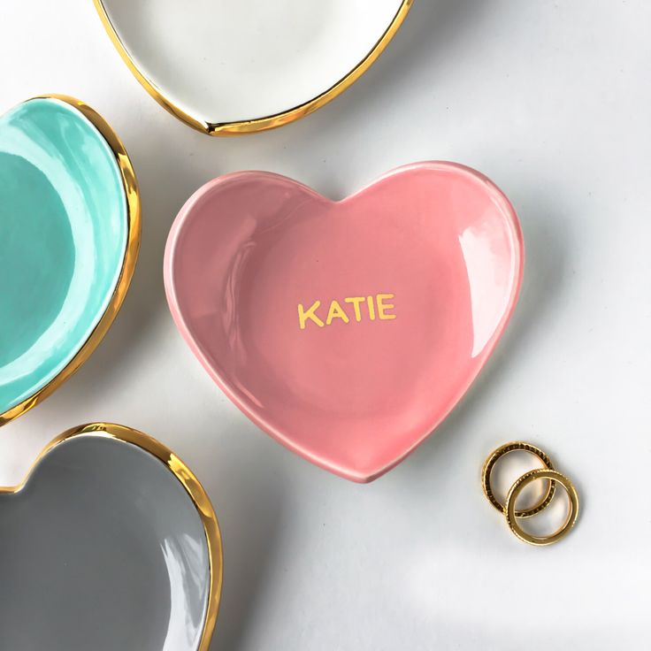 Personalized Ring Dish, Name Ring Dish, Monogram Heart Dish - Pink & Gold Valentine's Day, Ring Holder, Bridesmaid Gift, Wedding Favor by ModernMud on Etsy https://www.etsy.com/listing/257365567/personalized-ring-dish-name-ring-dish
