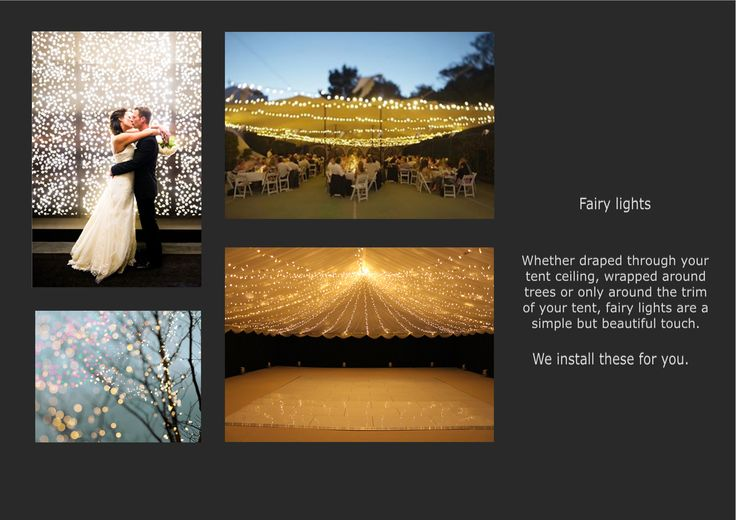 ...ask us about our lighting options! We do fairy-lights, festoons and LED parcans suitable for all occasions