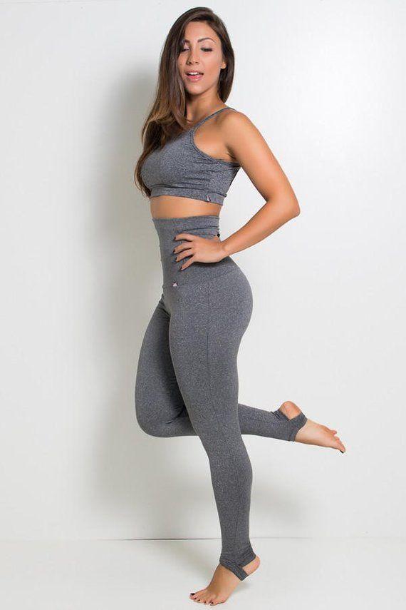 790fb9935f2a3 Heather Grey Extra High Waisted Stirrup Leggings Yoga Pants Brazilian  Workout Activewear Shapewear