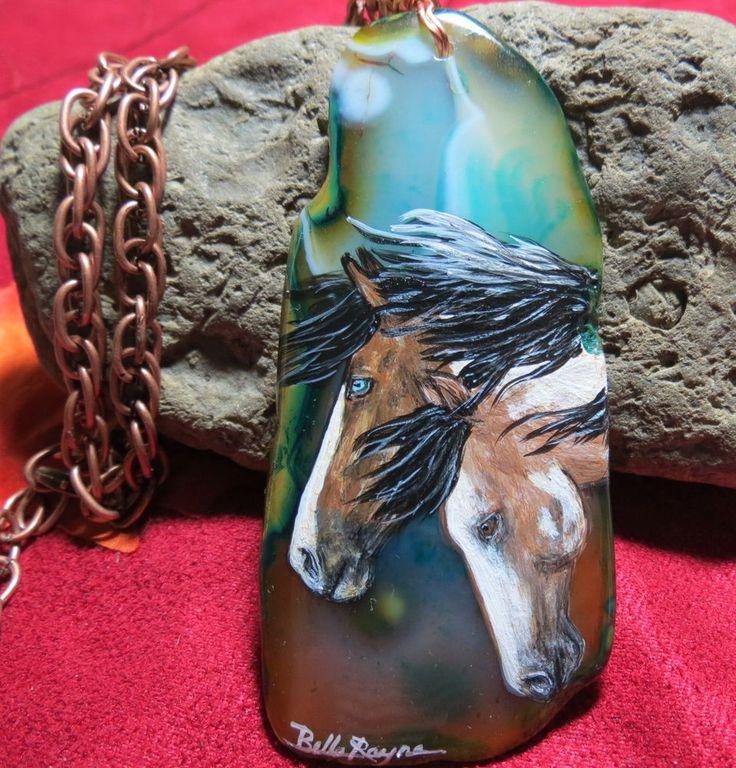 RUSTIC PAINTED ORIGINAL ART PENDANT BUCKSKIN PINTO HORSES NATIVE GYPSY JEWELRY #BELLERAYNE