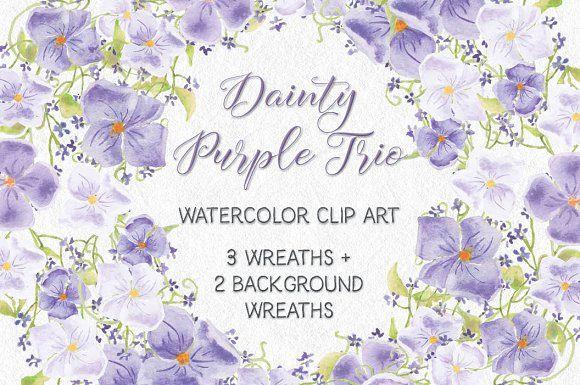 Dainty purple trio: wreaths by Lolly's Lane Shoppe on @creativemarket
