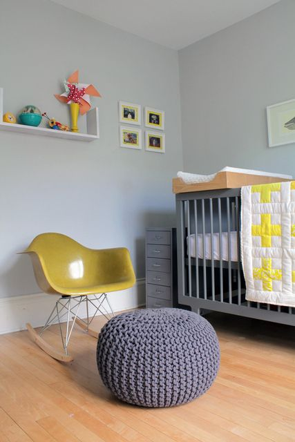 Bright yellow: Wall Colors, Kids Bedrooms, Rocks Chairs, Paintings Colors, Eames Rockers, Grey Yellow, Modern Nurseries, Baby Rooms, Kids Rooms