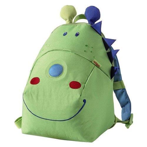"""Παιδική τσάντα πλάτης για το νήπιο και τις βόλτες.  Έχει εργονομικά σχεδιασμένο σύστημα για μεταφορά με λουριά.  Επιπλέον έχει ένα ειδικό λουρί για την μέση.  Σε πράσινο χρώμα και σχέδιο """"ο δράκος Frido"""".  Κατάλληλο από δύο ετών."""