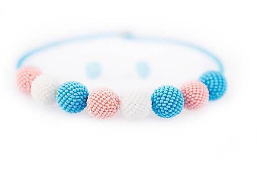 MariN.Art / náhrdelník obšívané guličky pastelový