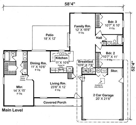Traditional House Plans front base model Country Ranch Traditional House Plan 10674