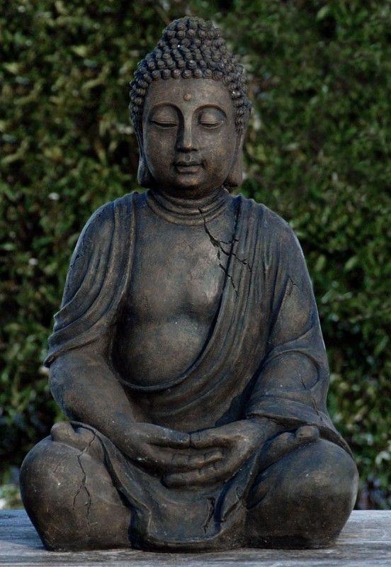Buddha Buddhafigur Dekofigur Sitzend Braun 30 Cm Hoch Antik Look Wohnen Dekoration Figuren