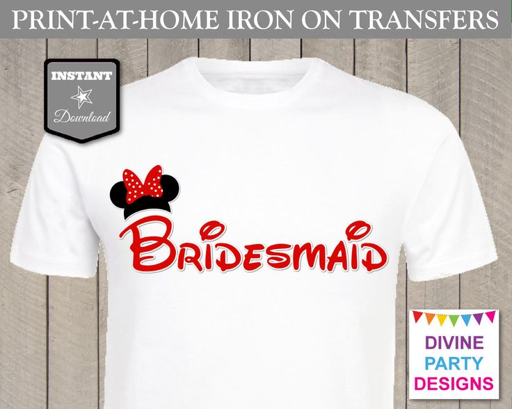 Make your own shirts for your wedding or bachelorette party with the printable Red Minnie Mouse iron on transfers.