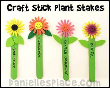Craft Stick Plant Stakes from www.daniellesplace.com