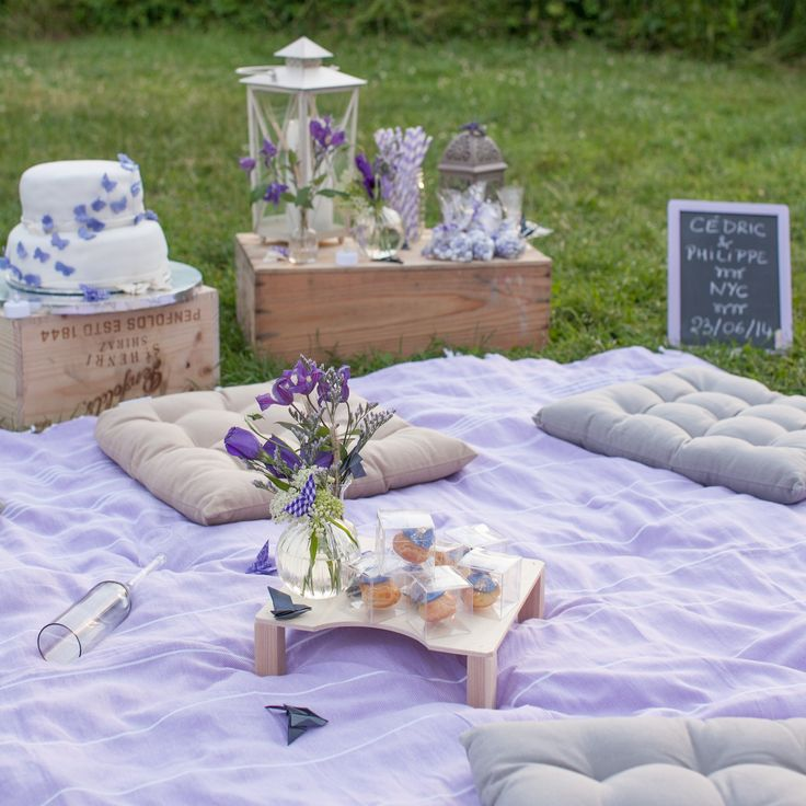 Purple picnic reception decor in Manhattan, NY. Photography by Image Singuliere. More: http://www.theknot.com/weddings/album/a-chic-and-intimate-french-wedding-in-manhattan-new-york-172925