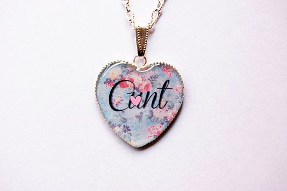 """Mature Content - C""""nt On Retro Floral Fantasy Heart Cameo - Funny Bachelorette Gift - Mature Jewelry - Swearword Jewelry - Swear word -Adult"""