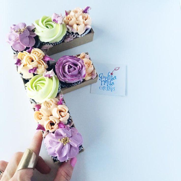 Floral Monogram Cupcakes by Sophia Mya Cupcakes (Nanvah Nina Michael)