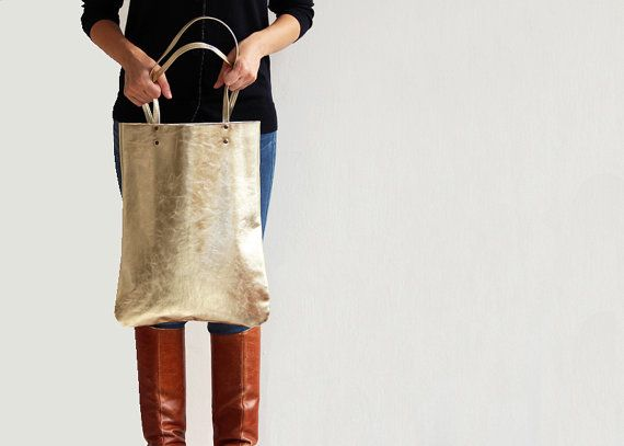 Leather Tote in Gold