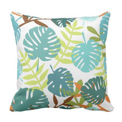 Tropical jungle with palm leaves throw pillow - decor gifts diy home & living cyo giftidea