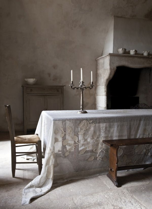 Ah.: Simple Living, Rustic Elegant, Plaster Wall, Linens Tablecloths, Vintage Lace, Vermeer Paintings, House, Rembrandt Paintings, Simple Dining Rooms