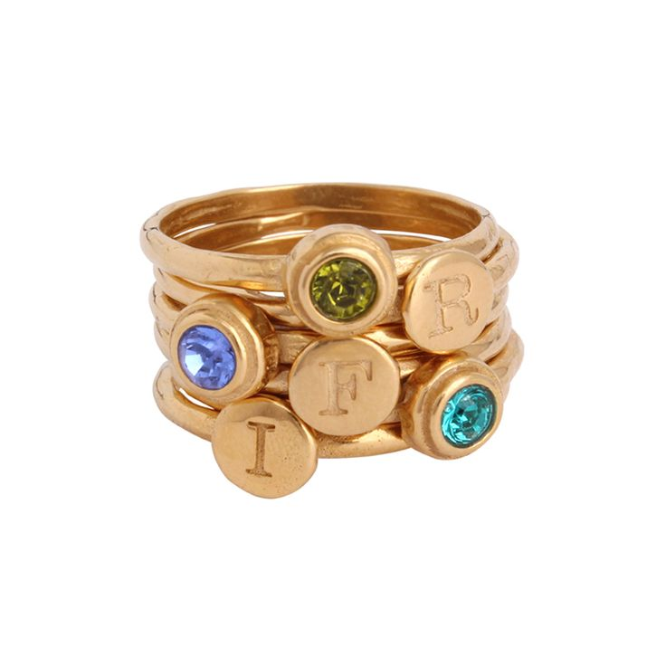 """Get your creative juices flowing and design a gold stackable ring you will not only love but it will make you smile everytime you look at it because of the people represented. Mix and match with however many stack initial rings and stack birthstone rings you want!  Price depends on which combo of stack rings chosen (price listed is for one initial ring and one birthstone ring) Gold vermeil bands are approx 1/16"""" wide 3mm stones are Swarovski crystal Available in whole sizes 5, 6, 7 and..."""