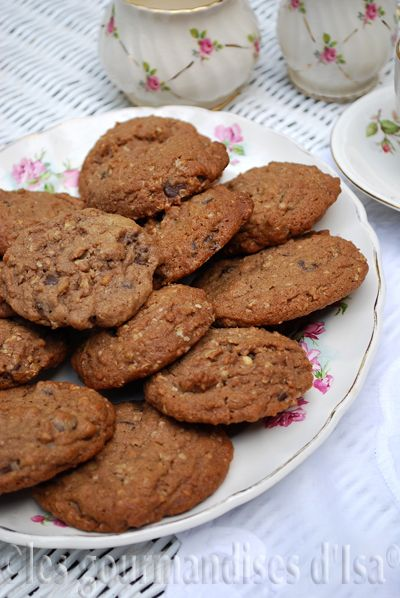 biscuits, beurre d'Arachides, pépites de chocolat, cacao,