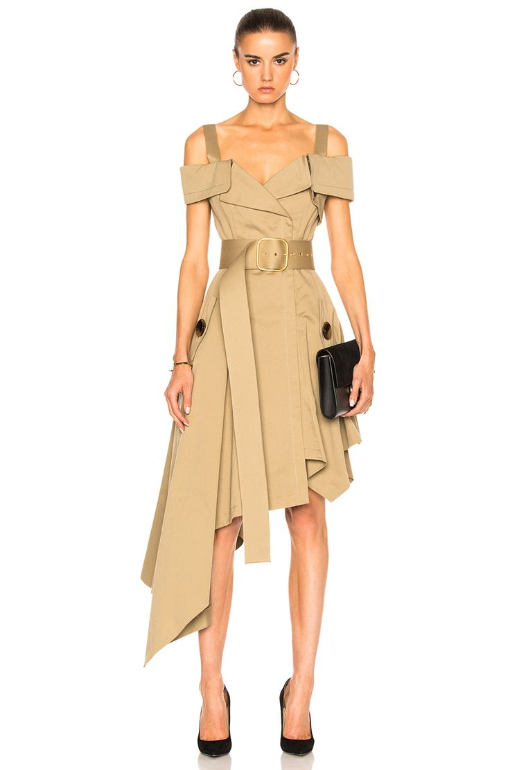 Image 1 of Monse Cotton Canvas Dress in Khaki